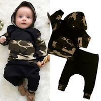 Newborn Toddler Kids Baby Boy Outfits Hooded Tops + Pants Tracksuit Clothes Set