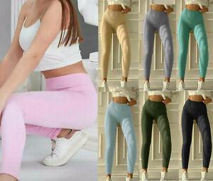 Womens Ladies Fine Ribbed Cotton Push Up Yoga Gym Sports Leggings New UK