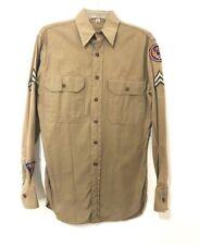 WWII US Army Air Force Khaki Uniform Drill Dress Shirt w/ Patches Original