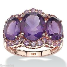 WOMENS PURPLE AMETHYST ROSE GOLD OVER STERLING SILVER RING SIZE 6 7 8 9 10