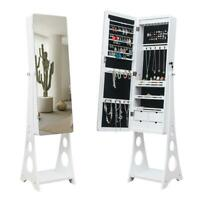 Full-length LED Mirrored Jewelry Cabinet Armoire w/ Bevel Edge Mirror Organizer