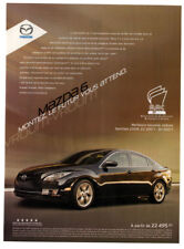 2009 MAZDA 6 GT V6 Original Print AD - Black car photo French Canada Quebec