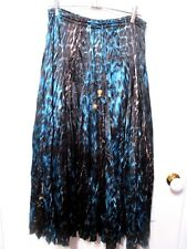 Ladies Aqua & black long soft pleated flared satin SKIRT size 10