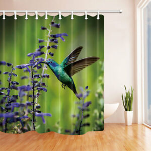 Hummingbird and Purple Flowers Bathroom Shower Curtain Fabric w/12 Hooks 71*71in