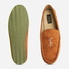 Ralph Lauren Snuff Brown Slippers with Multi Colour Polo Logo