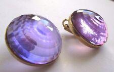 boucles d'oreilles année 1970 clips ronde mauve translucide support coul or 3514