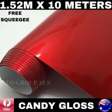 CANDY GLOSS RED METALLIC CHROME CAR VINYL WRAP FILM AIR RELEASE 1.52M X 10M
