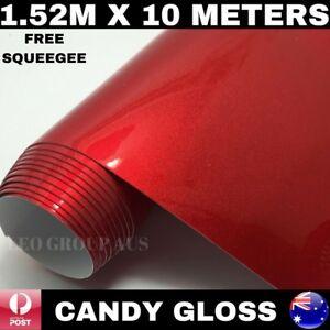 CANDY GLOSS RED METALLIC CHROME CAR VINYL WRAP FILM AIR RELEASE 1.52M X 10M