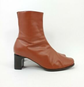 Bijou Shoes 7W Above Ankle Boots Leather Brown Orange Chunky 2.5 Heels Zip Up
