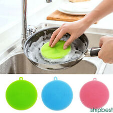 Silicone Dish Washing Sponge Scrubber Cleaning Antibacterial Kitchen Tools NEW