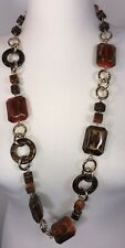 Statement Necklace Chunky Gold Tone Luxurious Shiny Brown Rust Gold Long NEW