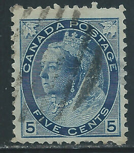 Canada #79(8) 1898 5 cent carmine QUEEN VICTORIA DUPLEX Cancel THIN