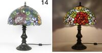 Tiffany Lamp W12 H18 Inch Floral Red Flower Style Stained Glass Shade