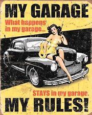 MY GARAGE MY RULES CAR BIKE MECHANIC WORKSHOP METAL PLAQUE TIN SIGN N444
