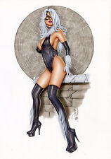 BLACK CAT - Sexy Pin-Up Print by Lady Death Artist ALEX MIRANDA (dw146)