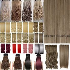 Colorful Synthetic Straight Curl Wave Half Full Head Clip in Hair Extensions fo