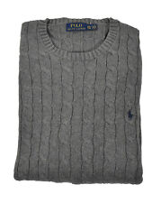 Ralph Lauren Polo Grey Heather Cotton Cable Crewneck Sweater New