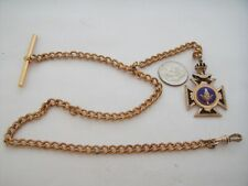 "Great 13"" T bar yellow Gold filled pocket watch chain & neat Masonic fob"
