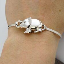 Elephant Bangle Bracelet - 925 Sterling Silver - Elephants Zoo Animal Gift NEW
