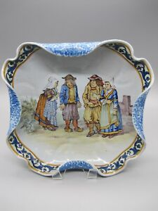 c.1895 French Faience Porquier-Beau Quimper Crimped Plate/Dish