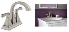 Delta Olmsted Stainless 2-Handle 4''Centerset WaterSense Bathroom Faucet W/Drain
