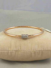 Fossil Brand Rose Gold Starter Slider Charm Hinged Bangle Bracelet JF01762 $58