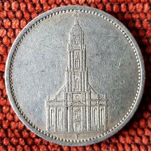 Germany Nazi 5 Reichsmark Church Swastika 1935 F .900 Silver Lot  359