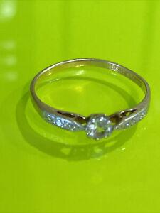 Vintage 18ct Gold & Platinum Diamond Ring ( 18ct Plat) Uk Q- US 8