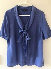 🎈 SPORTSCRAFT Signature Women's  Blue Bow 100% SILK Shirt Blouse  Sz 10 S M