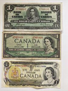 Canada One Dollar Bill Lot of 3 1937 1954 1973 George Elizabeth Note Banknote