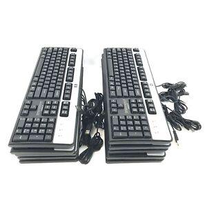 Lot of 10 HP KU-0316 Black/Silver USB Wired 104-Key Layout Keyboard #L5412