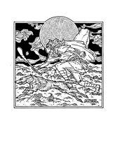 FANTASY ART CU CHULAINN 16x11 Print By Jim FitzPatrick. Wolfhound, Hurly, Irish.