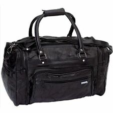 "Black 18"" Genuine Leather Travel Duffle Bag, Men Overnight Gym Luggage Tote Case"