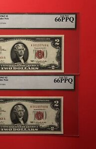 1963-2 CONSECUTIVE RED SEAL $2 LEGAL TENDER NOTE,GRADED BY LEGACY,GEM NEW 66 PPQ