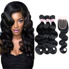 Human Virgin Unprocessed Brazilian Hair+Closure G8A 3 Bundles 300g Extension