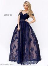 Sherri Hill 50595 Navy Blue Lace Ball Gown Dress sz 14
