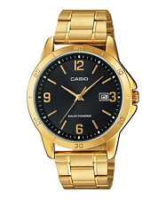 MTP-VS02G-1A Gold Black Casio Men's Watches Stainless Steel Band SOLAR POWERED