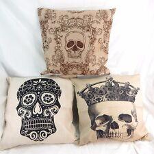 wholesale 3pcs Sugar skull rockabilly cotton linen decorative pillow case covers