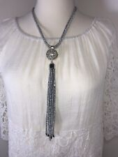 Pearl Necklace Sparkly Mesh Crystals Silver Tone Statement Necklace Long NEW