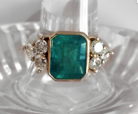 14K Yellow Gold Over 2.45Ct Emerald Cut Green Emerald Antique Vintage Ring