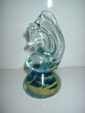 VERY SWEET MDINA GLASS PAPERWEIGHT ORNAMENT IN THE FORM OF A SEAHORSE SIGNEDBASE