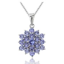 925 Silver 2.5ct TGW Tanzanite Flower Necklace