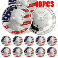 10PCS 2020 President Election Donald Trump MAGA Colorful Silver Plated Coin USA