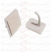 SELF ADHESIVE STICK ON CENTRE HOOKS FOR NET CURTAIN WIRE UPVC WINDOW WHITE x 4