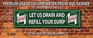 CASTROL LET US DRAIN YOUR SUMP WATERPROOF 550GSM GRADE PVC BANNER.GARAGE SIGN