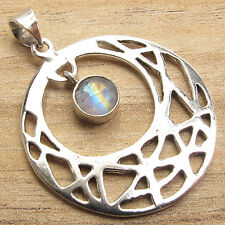 "WHOLESALE Pendant 1 1/2"" ! FIRE RAINBOW MOONSTONE Jewelry ! 925 Silver Plated"