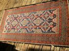 """ANTIQUE 1900 BELUCH   RUG  WITH GREAT  BLUE COLOR AND YELLOW 5'10"""" X 3 FEET ."""