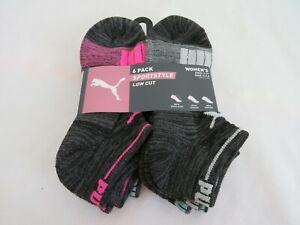 PUMA 6 Pack Sportstyle Low Cut Womens Sock Size 9-11 Shoe Size 5-9.5
