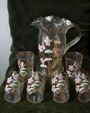 RARE Dugan Carnival Glass Lemonade Set Enameled Floral Spray Pitcher & 6 Tumbler