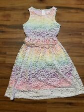 NWT Justice Girls Size 6 7 Lined Coral Cami Lace Mesh Tulle Ribbon Sash Dress